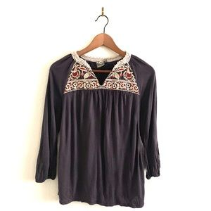 Vanessa Virginia Dark Gray Embroidered Peasant Top